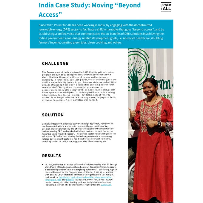India Case Study Moving Beyond Access Power For All