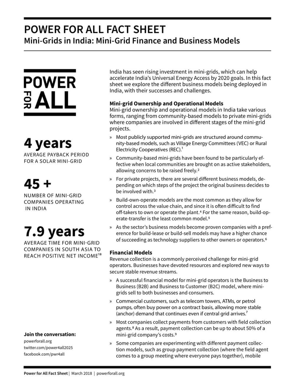 Fact Sheet: Mini-Grids in India: Mini-Grid Finance and Business Models ::  Power For All